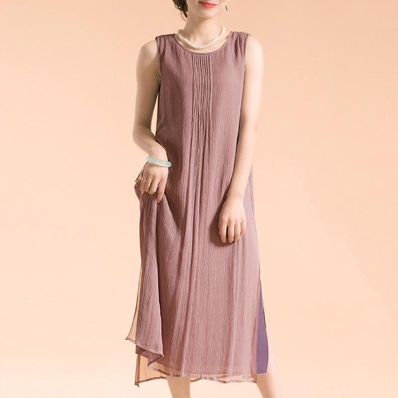 EaseHut Plus Size Dress Women Vintage Sleeveless Cotton Women's Summer Dress Lined Casual Loose Long Dress 5XL Boho Maxi Dresses