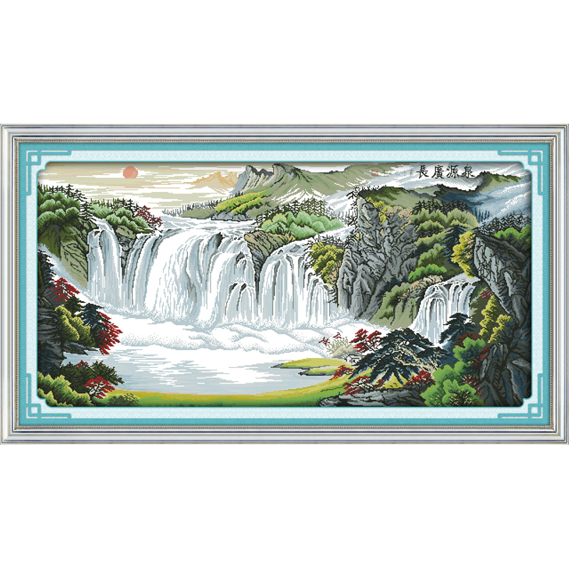 Everlasting love River and mountains Chinese cross stitch kits Ecological cotton stamped 11CT DIY New year Christmas decorations