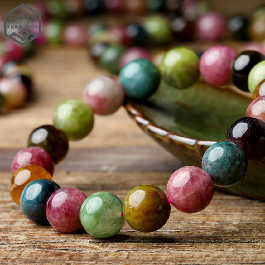 7-10mm Brazil Tourmaline Stone Bracelet Pinky Color Round Beads Bracelet Womens Bracelets For Girls Christmas Gift