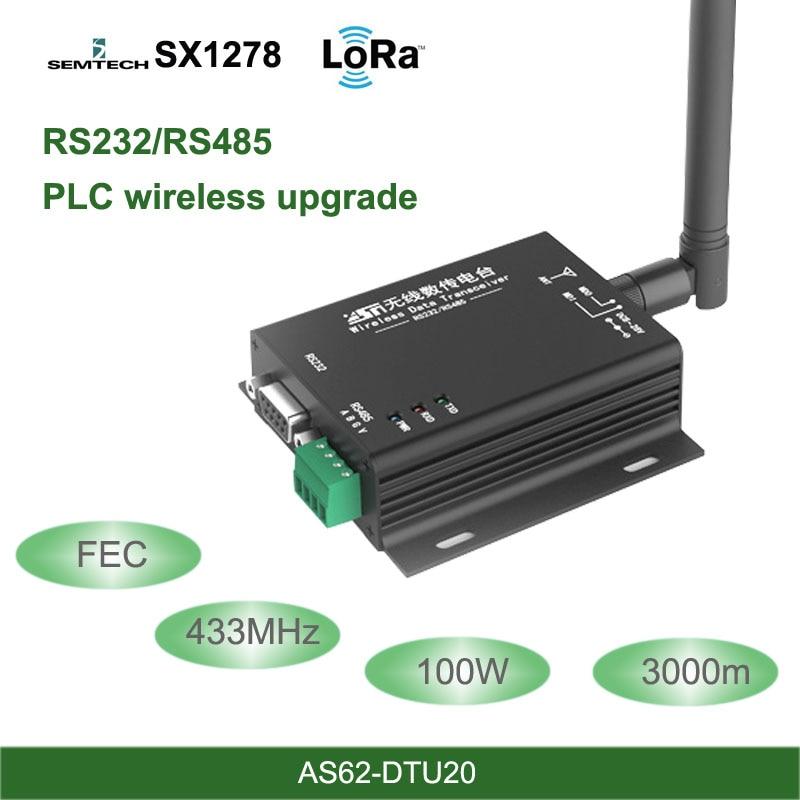433MHz LoRa SX1278 RS485 RS232 Interface rf DTU émetteur-récepteur 3km FEC sans fil uhf Module 433M rf émetteur et récepteur