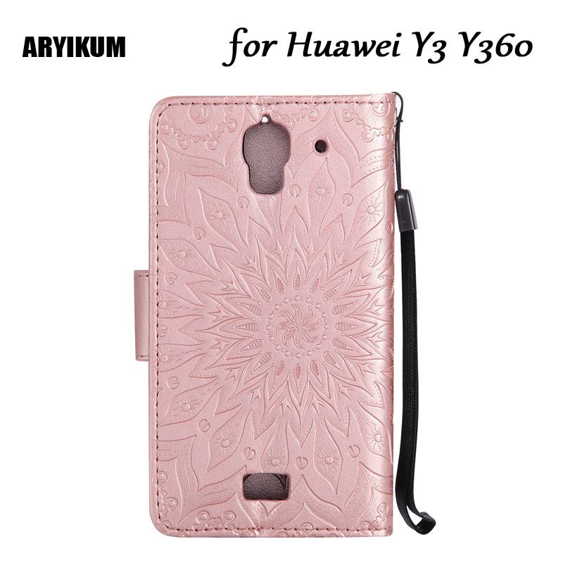 For <font><b>Huawei</b></font> Y3 Luxury Embossing Sunflower Wallet Flip Protective Cover For <font><b>Huawei</b></font> <font><b>Y360</b></font> <font><b>Y360</b></font>-<font><b>U61</b></font> <font><b>Y360</b></font>-U03 <font><b>Y360</b></font>-U31 <font><b>Y360</b></font>-U42 Coque image