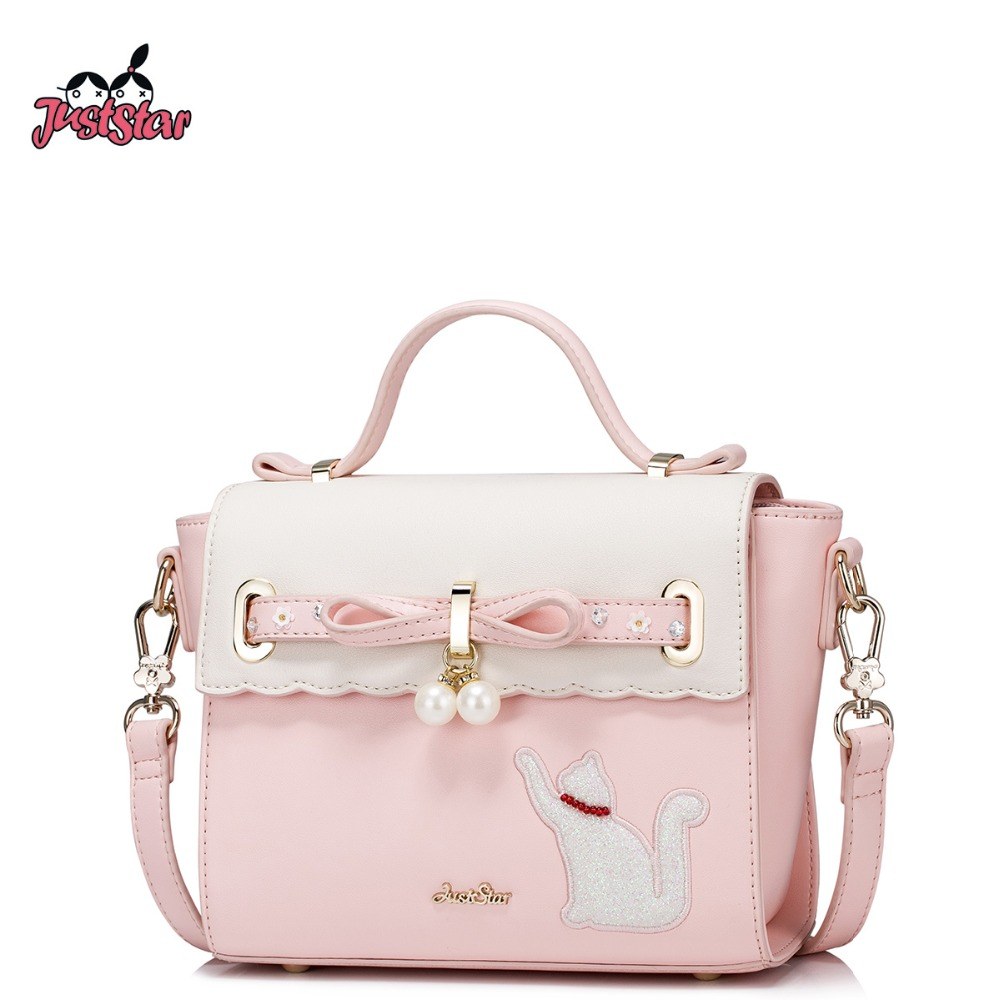 JUST STAR Women's PU Leather Handbags Ladies Fashion Bow Tote Purse Female Cat Embroidery Leisure Brand Messenger Bags JZ4352 just star women s pu leather messenger bags ladies embroidery shoulder purse female chain leisure whale crossbody bags jz4468
