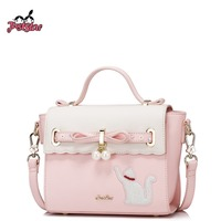 JUST STAR Women S PU Leather Handbags Ladies Fashion Bow Tote Purse Female Cat Embroidery Leisure