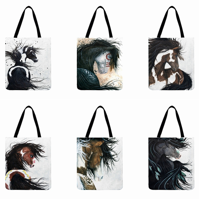 Modern Art Animal Printed Tote Bag For Women Vintage Black Horse Painting Casual Shopping Bag Outdoor Reusable Beach Bag