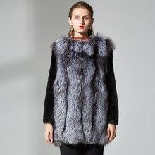 Natural mink Fur Coats for Women Winter fox Fur Jacket Outerwear Women Warm Real mink Fur sliver fox fur Coat Short medium