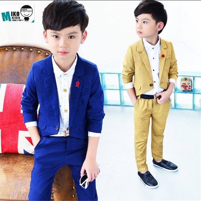 2017 Summer 2 10y Boys Blazer Suit for Weddings Kids Jacket+Pants 2 ...