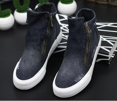 New high-top canvas shoes women zipper hole denim increased women's casual canvas shoes student shoes35-40