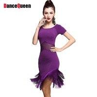 2018 Sexy Frauen Latin Dance Kleid silk Top & Quaste Rock Schwarz/Lila Salsa Cha Cha Rumba Ballsaal tänzerin Tragen Kleidung