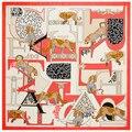 130 см * 130 см Женщин 2016 Новая Мода Twill Шелковый Евро Марка Животных Leopard Слова Печати Квадратный Шарф Верховая Печати Горячие Продажи Femal Wrap