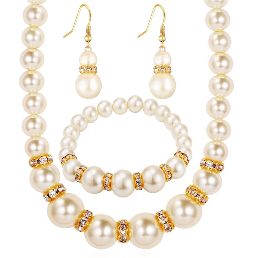 African Beads Jewelry Set Simulated-Pearl Necklace Bracelet Earrings Women Jewelry Sets Inlay CZ Bride Set Wholesale Free Gifts