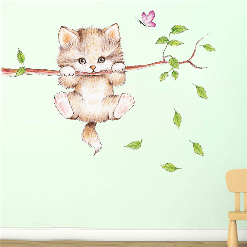 cute cat butterfly tree branch wall stickers for kids rooms home decoration cartoon animal wall decals diy posters pvc mural art 4