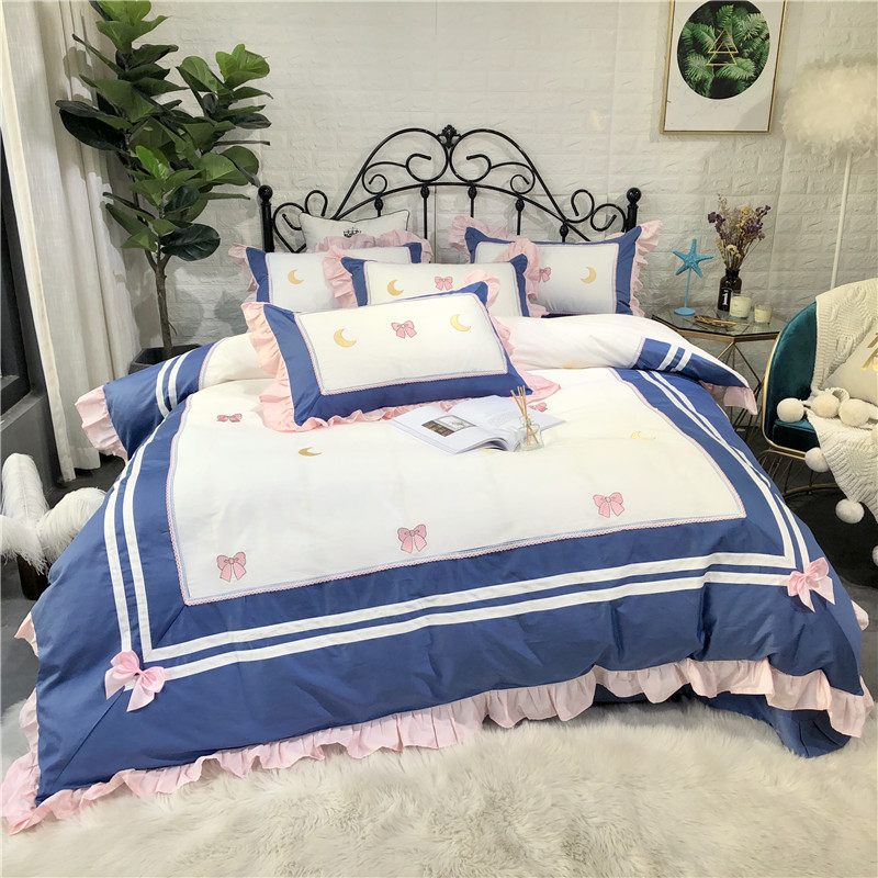 Egyptian cotton white blue duvet cover bedsheet fitted sheet Luxury bedding set king size queen embroidery bed set parure de litEgyptian cotton white blue duvet cover bedsheet fitted sheet Luxury bedding set king size queen embroidery bed set parure de lit
