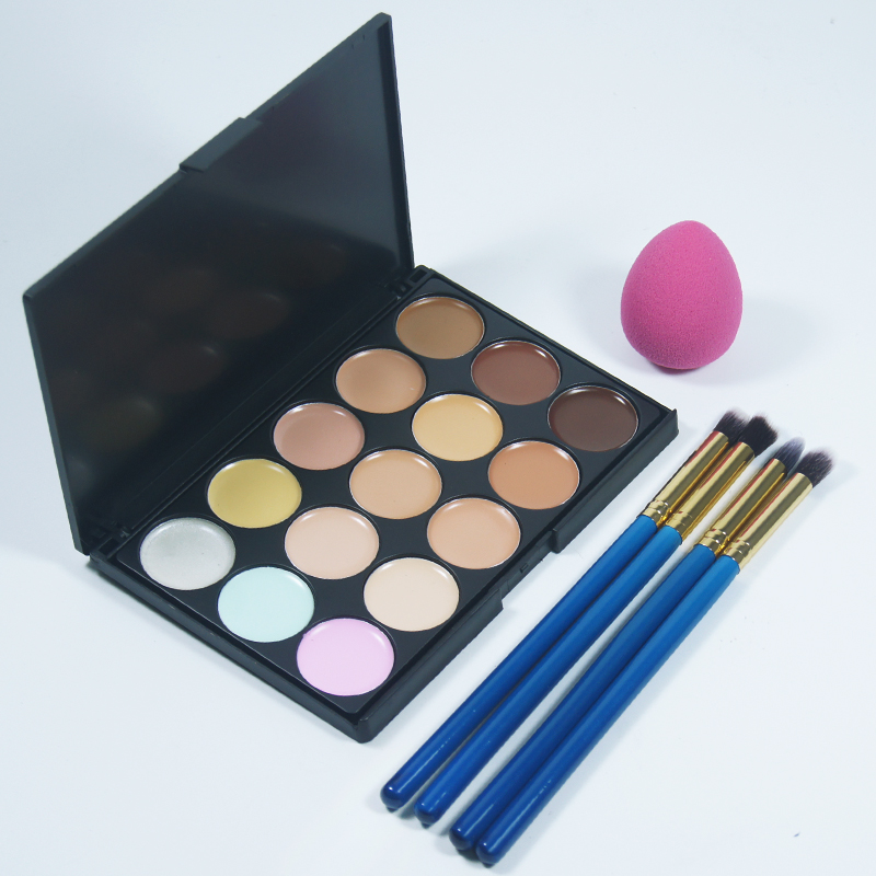 4pc Makeup Eyeshadow Eyeliner Brush And 1Pc cosmetic sponge puff +15 colors for face foundation cream concealer makeup Tools Set 4pcs set makeup brush and cosmetic foundation sponge powder puff 15 concealer palette facial face cream makeup tools set hot