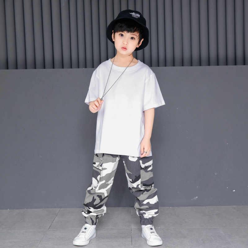 Ropa de Hip Hop para niños, camiseta blanca lisa, pantalones de camuflaje para Jogger para niñas, Ropa de baile de Jazz, ropa para baile de salón