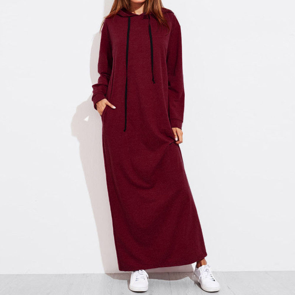 Women Maxi Dress Long Sleeve Hooded Ladies Casual Hoodies Long dresses Solid Color Ladies Loose Dress robe femme Dropshipping