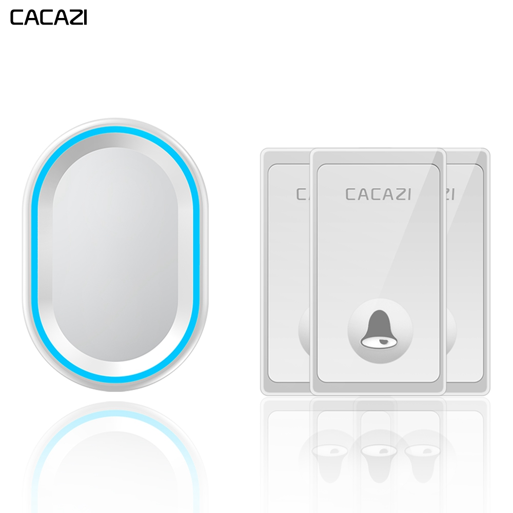 CACAZI Self-powered Wireless Doorbell Waterproof 3 Buttons 1 Receiver US EU UK Plug No Battery Required Home Call bell 58 Chimes