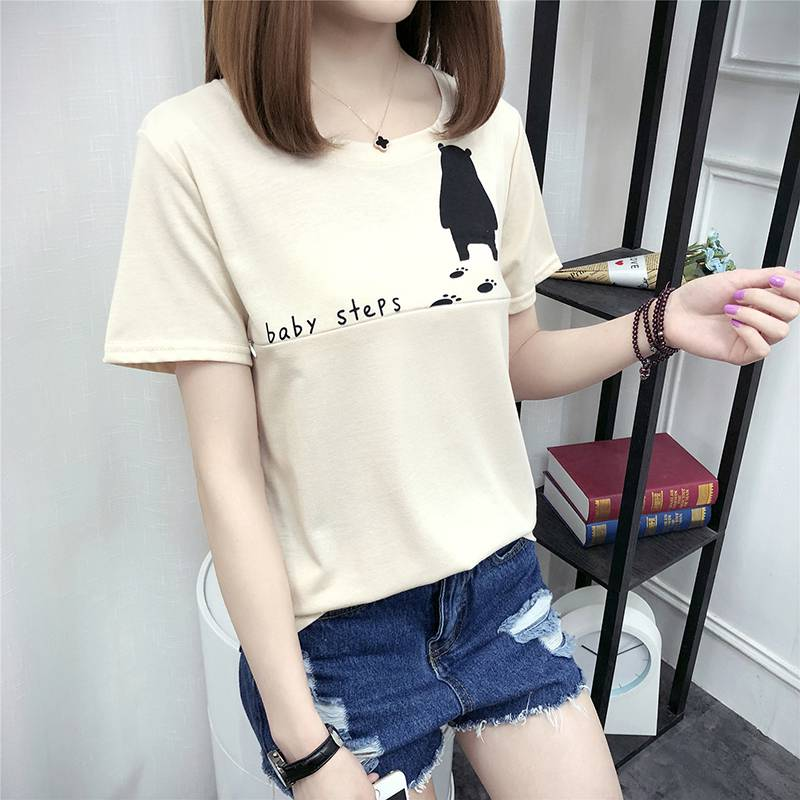 2018 summer new nursing short-sleeved jacket bear printing loose T-shirt Korean fashion new maternity clothes