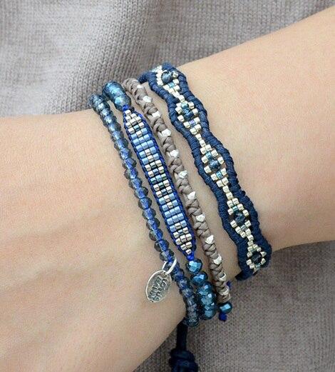 Lotus Mann Blue Mix Single Wrap Bracelet on Natural Dark Blue Leather