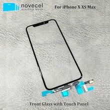 Novecel оригинальное качество ЖК-дисплей сенсорный экран передняя внешняя стеклянная панель со шлейфом для iPhone X XS Max Запасные части