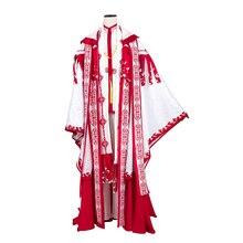 Anime! Spiritpact duanmuxi vermelho azul sacrifício arcaico sacerdócio manto quimono lindo uniforme cosplay traje frete grátis