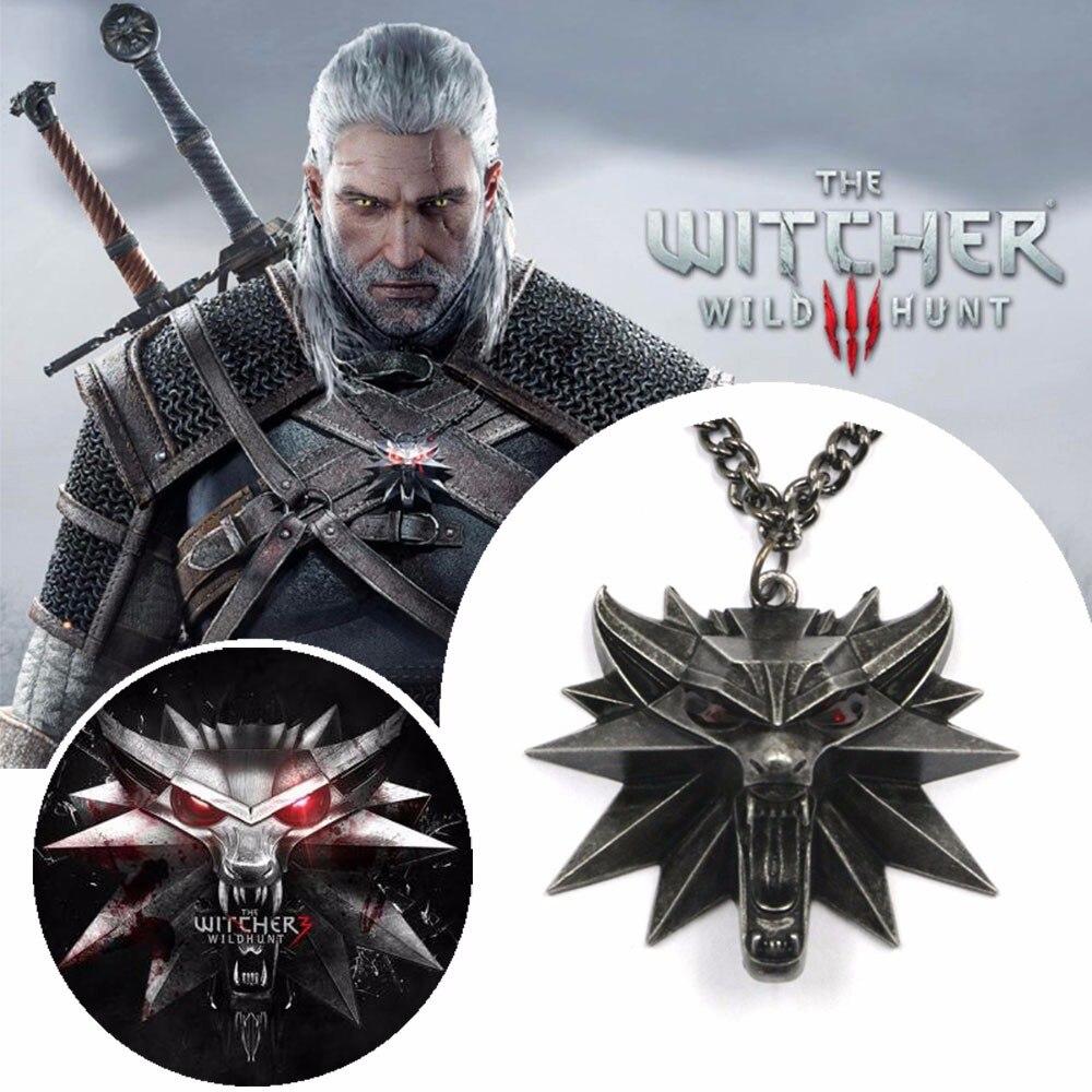 ZOEBER The Witcher 3 Wild Hunt Medallón Colgante de Collar de Cadena de aleación