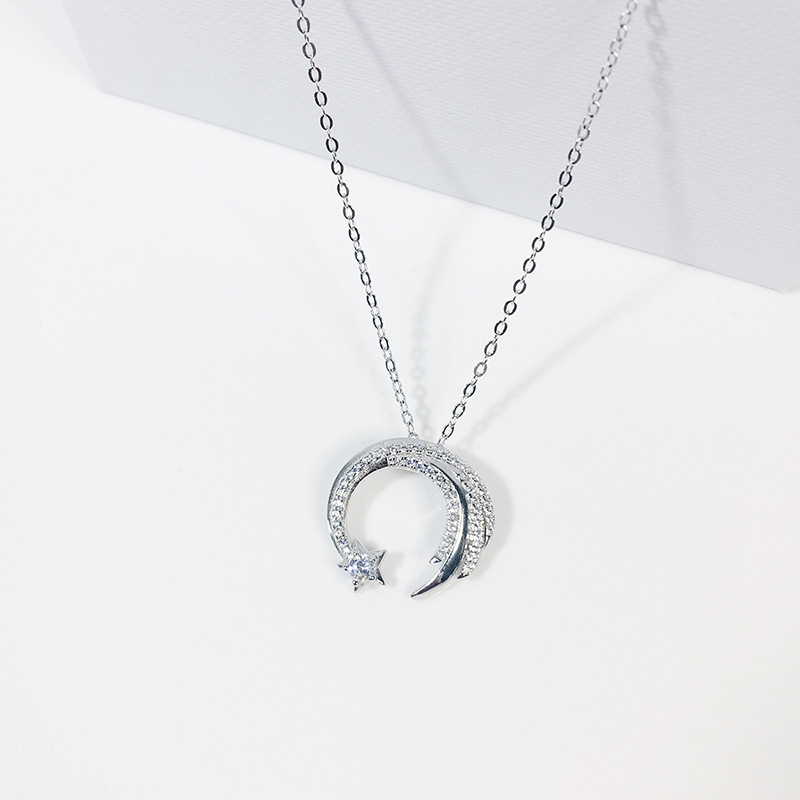 Moon Star 925 Sterling Silver  Meteor Garden Slip Falling Meteor Micro-Inlaid Clavicle Chain Temperament Female Necklace SNE295
