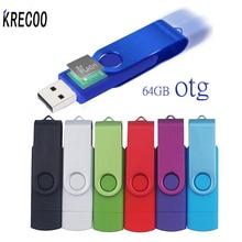 KRECOO OTG USB 2 0 Flash Drive 64GB 16GB Rotate PenDrive Plastic Usb FlashDrives 32GB for