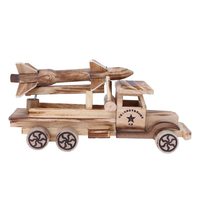 Baby Wooden Toys Handmade Rocket Car Model Simulation Chariot Model Scud Missiles Toys Vehicles Car Crafts Kids Boys Toy Gift