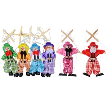 1Pc Pull ciąg Puppet Clown drewniane marionetki zabawki wspólne działanie lalki w stylu Vintage dziecko