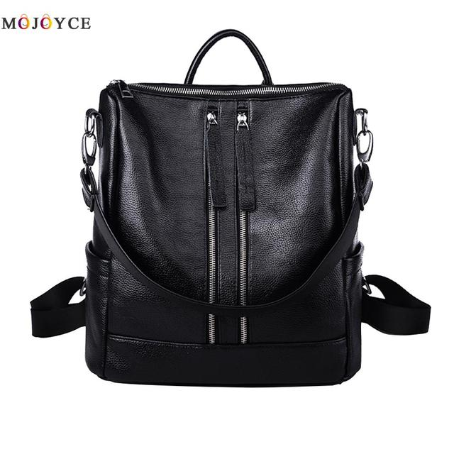 f7e961b14a17 Women Backpack Simple Casual School Medium Size Girl s Daily Pack Female  Soft PU Leather Backpack