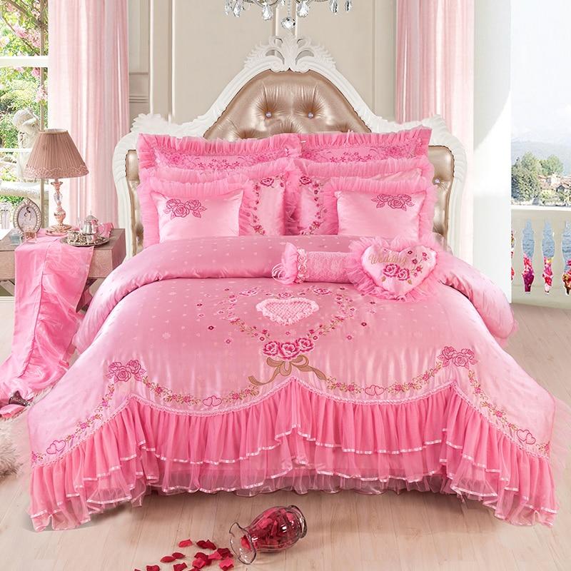 Розовый Шелковый Атлас вышитый жаккард постельных принадлежностей Свадебный домашний текстиль роскошный пододеяльник романтическое круж