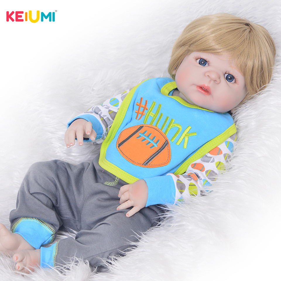 Alive 23'  Inch 57 cm Reborn Baby Boy Full Silicone Body Reborn Dolls Lifelike Kids Playmates Baby Toys Kids Birthday Gifts-in Dolls from Toys & Hobbies    1