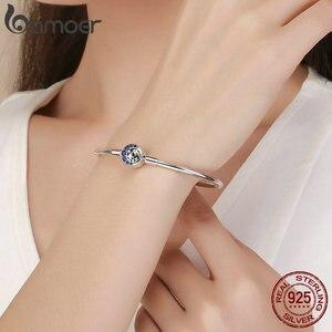 Image 5 - BAMOER Echtem 100% 925 Sterling Silber Blau CZ Mond und Sterne Armband & Armreifen für Frauen Sterling Silber Schmuck S925 SCB080