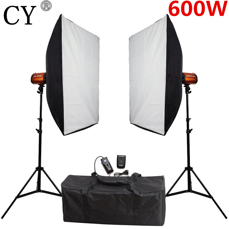 купить CY 600w Softbox Flash Lighting Kit Photography Studio Storbe Light Lightbox Stand Set Photo Studio Accessories Godox Smart 300SD онлайн
