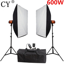 CY 600 w Softbox Flash Éclairage Kit Photographie Studio Storbe Lumière Lightbox Stand Ensemble Photo Studio Accessoires Godox Intelligent 300SD