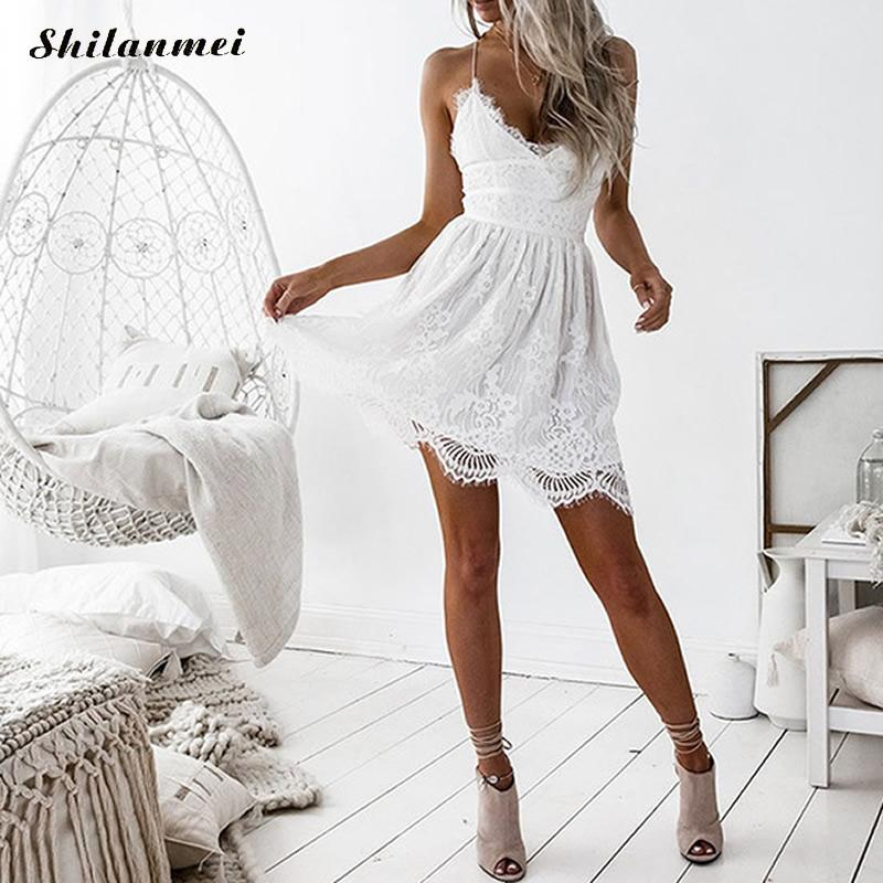 Sexy Party Vestidos Backless Tied White Black Mini Dress Spaghetti Strap Lace Dresses Summer Women Robe Femme Party Beach Dess