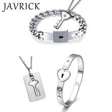 Titanium Puzzle Couple Heart Lock Key Bracelet Necklace Lover Jewelry Set