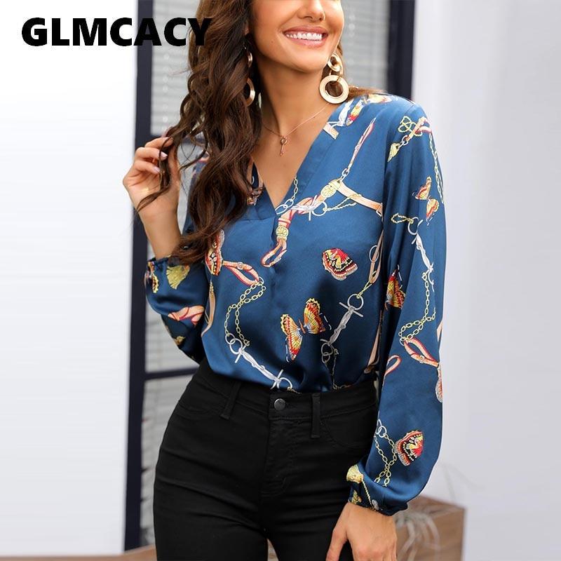 c0aa9ae1 Blusa Casual con cuello en V con estampado de cadena para mujer, de manga  larga, ajustada, de ...