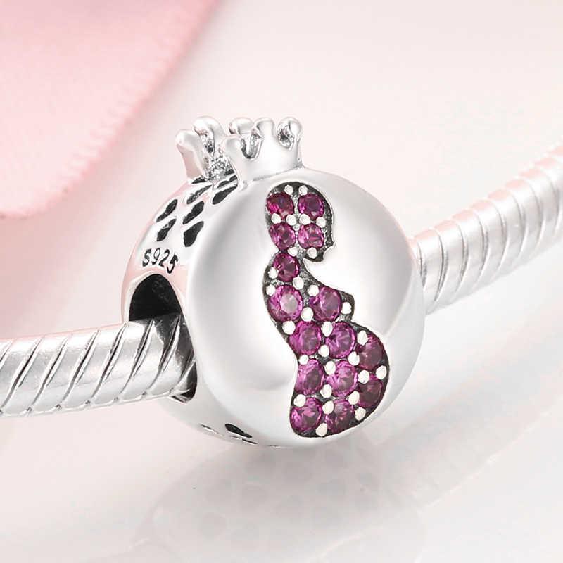 Подарите жизнь беременной матери 925 пробы Серебряный Шарм розовый CZ бисер ювелирные изделия подходит оригинальный Pandora талисманы браслеты