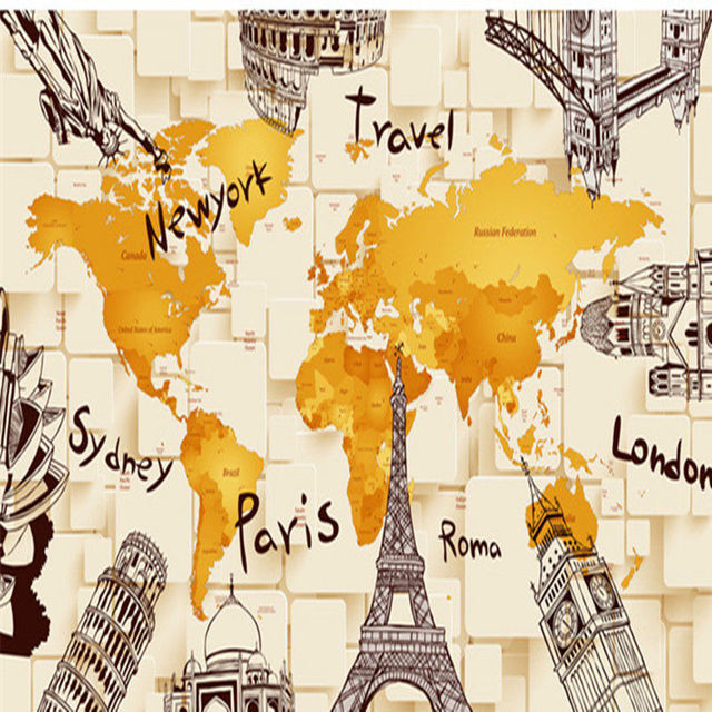 Creative 3d building the world map picture tv background wall creative 3d building the world map picture tv background wall decoration painting bedroom tv background wall gumiabroncs Image collections