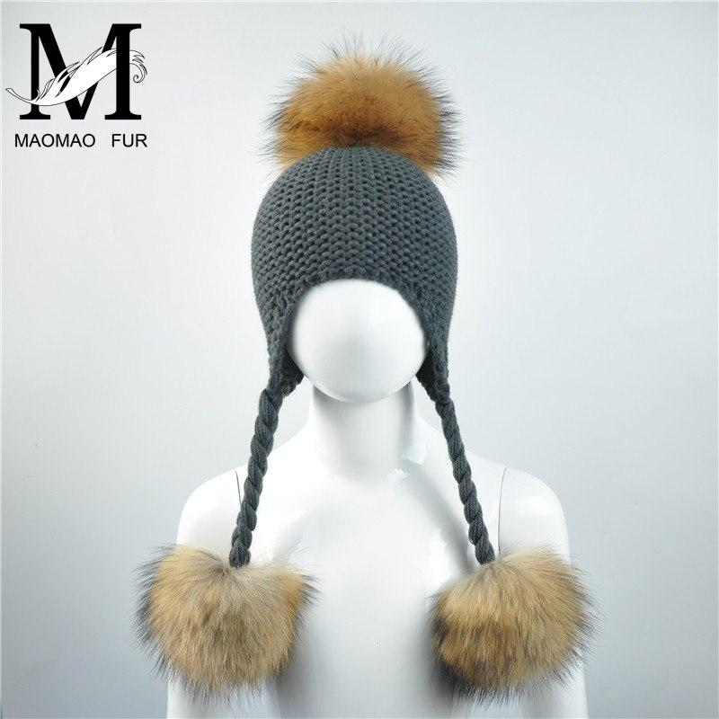 25590ca7959a Aliexpress.com   Buy Kids Winter Hats Three Fur Balls Warm Fashion ...