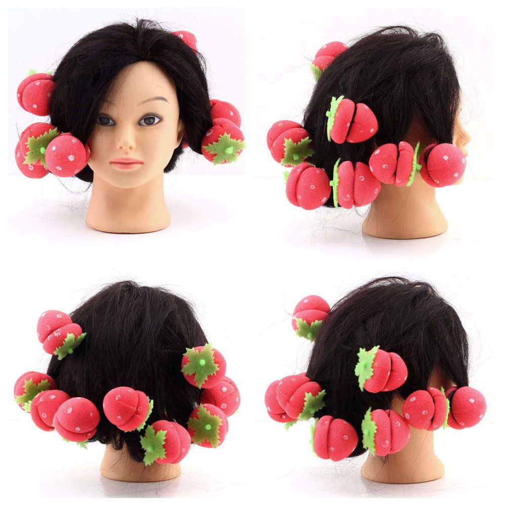12pcs Rollers Curlers Strawberry Balls Hair Care Girls Strawberry Balls Hair Care Soft Sponge Rollers Curlers DIY Tool