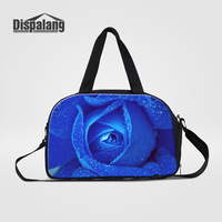 Dispalang Women Hand Luggage Travel Duffle Bags Bule Rose Printing Canvas Weekend Bag With Shoes Pocket