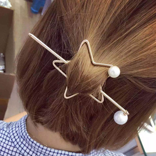 Frauen Haarspange Mode Silber Gold Metall Haarspangen Sterne Perle ...