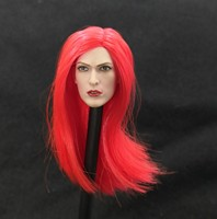1/6 The Resent Evil Alice Head Sculpt Red Long Hair Pale for 12''Pale Bodies Action Figures