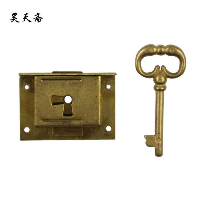 [Haotian vegetarian] Chinese antique brass lock handmade desk drawer Drawer HTH-131 [haotian vegetarian] antique copper lock bronze chinese antique brass lock bamboo tongsuo hth 1333
