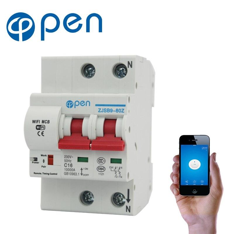 Открыть 2 P 16A дистанционное управление Wi Fi автоматический выключатель/Smart Switch/Intelligent Автоматический повторный включатель перегрузки коротк...