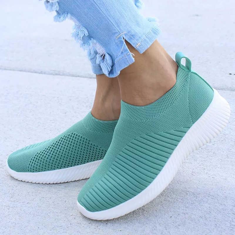 حجم كبير 43 أحذية رياضية النساء تمتد النسيج الجوارب أحذية امرأة موضة فلكنيز أحذية الانزلاق على تنيس Feminino النساء حذاء كاجوال