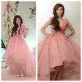 Rosa 3D Flor Princesa Alta Baixa Prom Vestidos Vestido De Festa arábia Saudita vestido de Baile Quniceanera Vestido Robe De Soiree Vestido de Festa