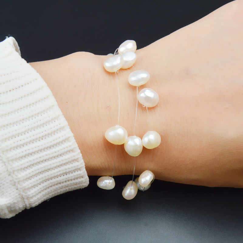 ASHIQI White Natural Freshwater Baroque Pearl Bracelets For Women With 3 Rows Transparent Fishing Line Invisible Chain